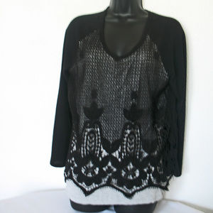 Democracy Lined top With Black Embroidery, Lace